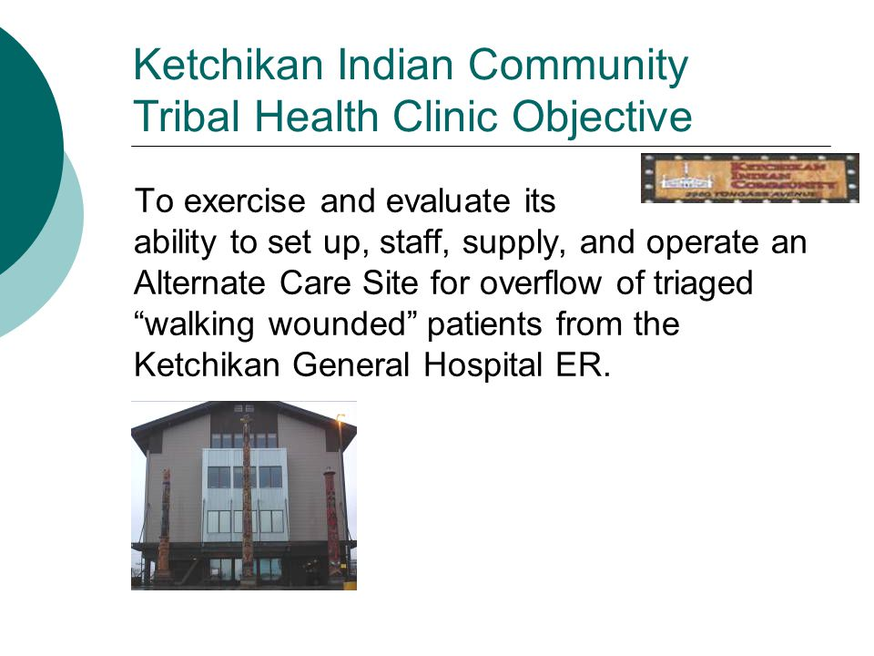 Ketchikan Indian Community Tribal Health Clinic Objective To exercise and evaluate its ability to set up, staff, supply, and operate an Alternate Care Site for overflow of triaged walking wounded patients from the Ketchikan General Hospital ER.