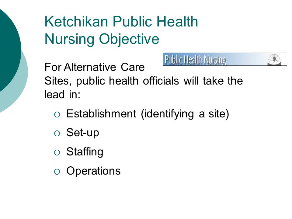 Ketchikan Public Health Nursing Objective For Alternative Care Sites, public health officials will take the lead in:  Establishment (identifying a site)  Set-up  Staffing  Operations