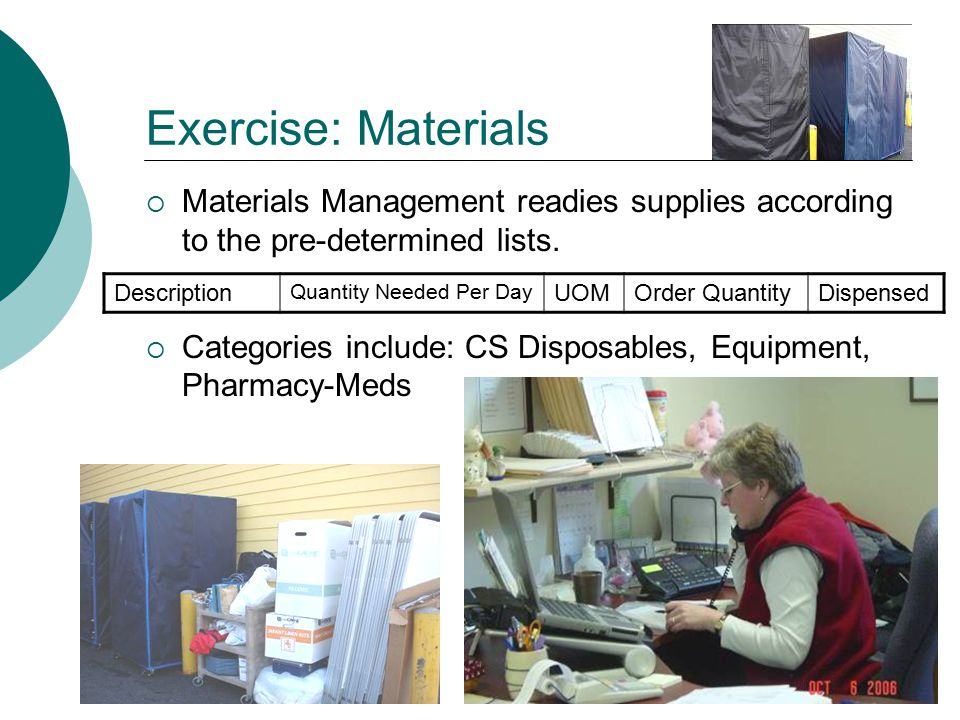 Exercise: Materials  Materials Management readies supplies according to the pre-determined lists.