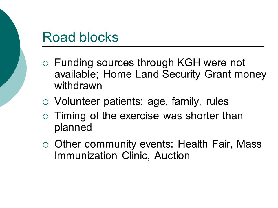 Road blocks  Funding sources through KGH were not available; Home Land Security Grant money withdrawn  Volunteer patients: age, family, rules  Timi
