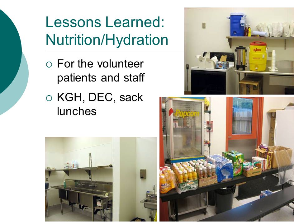Lessons Learned: Nutrition/Hydration  For the volunteer patients and staff  KGH, DEC, sack lunches