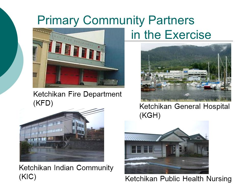 Primary Community Partners in the Exercise Ketchikan Fire Department (KFD) Ketchikan General Hospital (KGH) Ketchikan Indian Community (KIC) Ketchikan Public Health Nursing