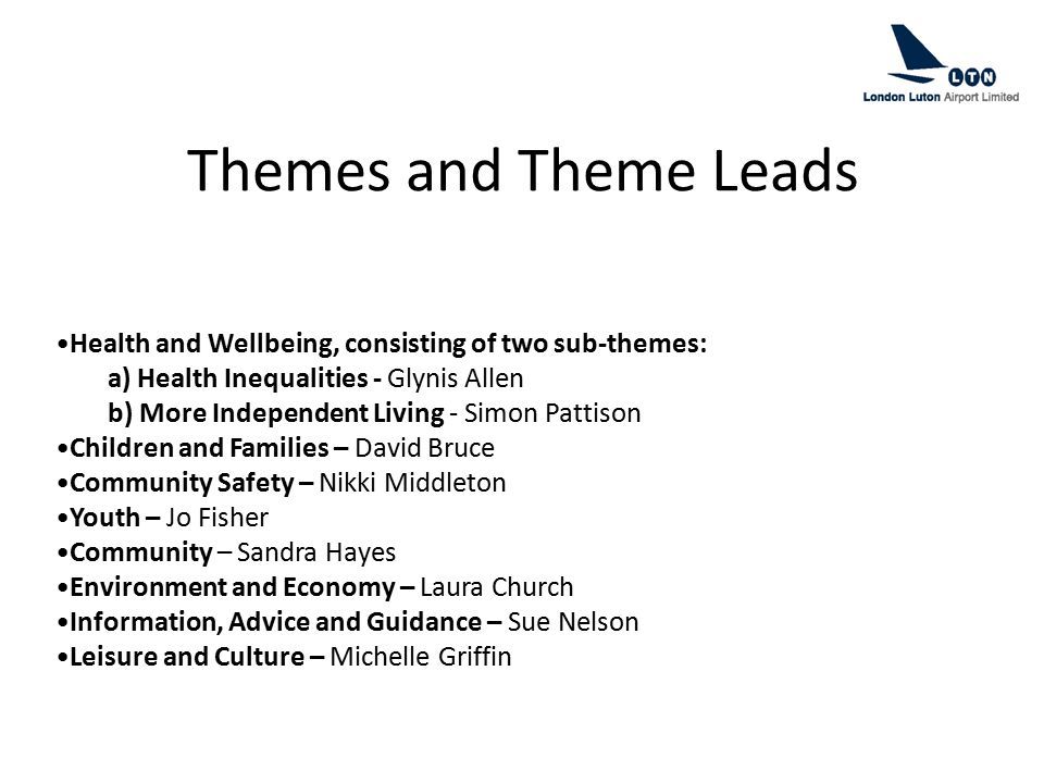 Themes and Theme Leads Health and Wellbeing, consisting of two sub-themes: a) Health Inequalities - Glynis Allen b) More Independent Living - Simon Pa