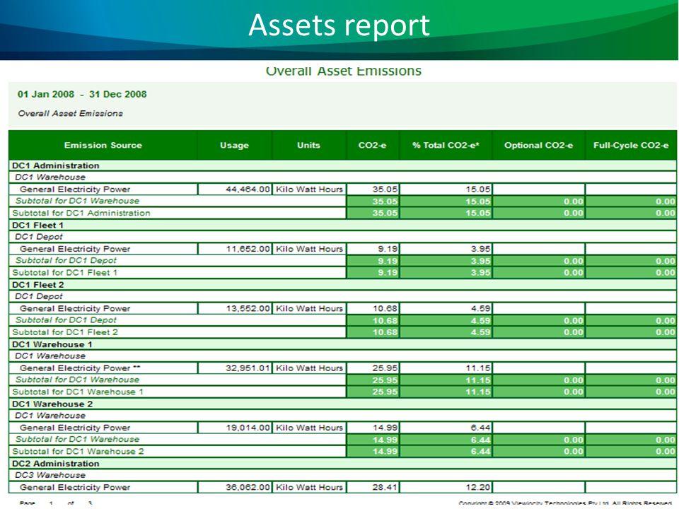 Assets report