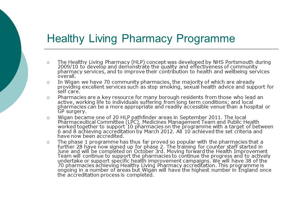 Healthy Living Pharmacy Programme  The Healthy Living Pharmacy (HLP) concept was developed by NHS Portsmouth during 2009/10 to develop and demonstrate the quality and effectiveness of community pharmacy services, and to improve their contribution to health and wellbeing services overall.