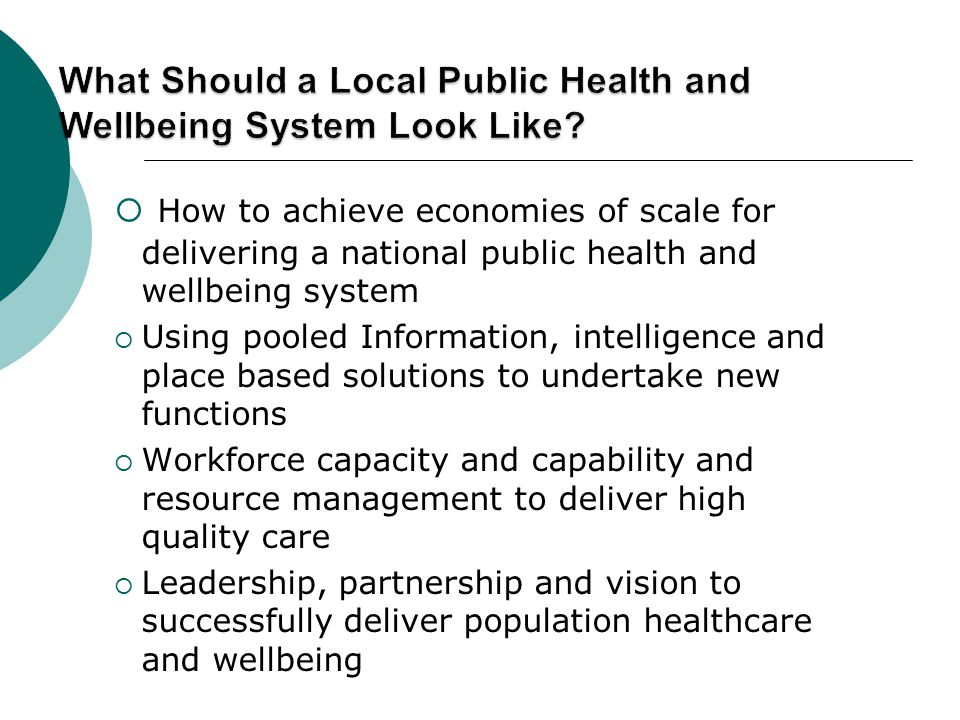  How to achieve economies of scale for delivering a national public health and wellbeing system  Using pooled Information, intelligence and place based solutions to undertake new functions  Workforce capacity and capability and resource management to deliver high quality care  Leadership, partnership and vision to successfully deliver population healthcare and wellbeing