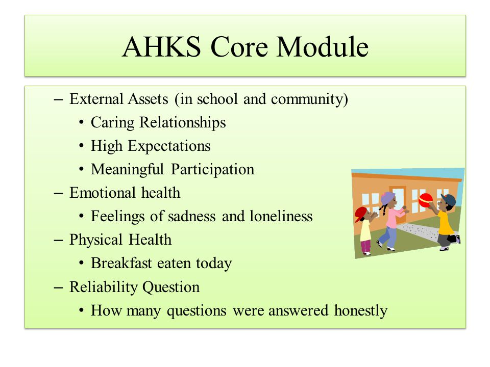 AHKS Core Module –External Assets (in school and community) Caring Relationships High Expectations Meaningful Participation –Emotional health Feelings of sadness and loneliness –Physical Health Breakfast eaten today –Reliability Question How many questions were answered honestly –External Assets (in school and community) Caring Relationships High Expectations Meaningful Participation –Emotional health Feelings of sadness and loneliness –Physical Health Breakfast eaten today –Reliability Question How many questions were answered honestly