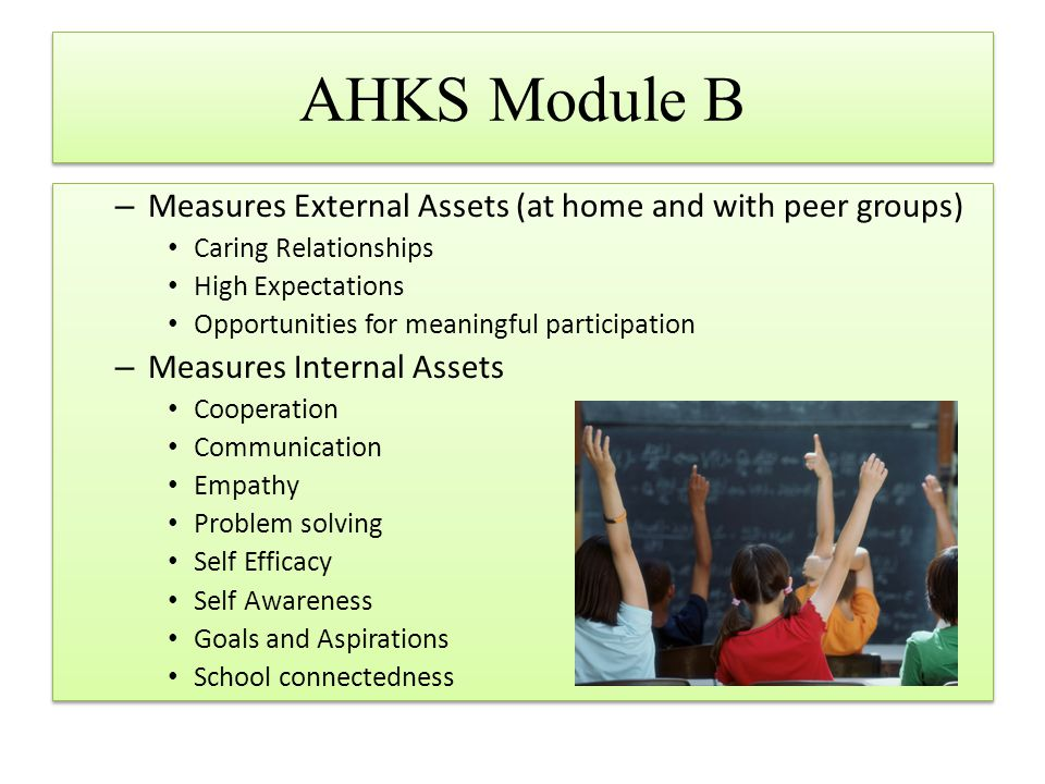 AHKS Module B – Measures External Assets (at home and with peer groups) Caring Relationships High Expectations Opportunities for meaningful participat