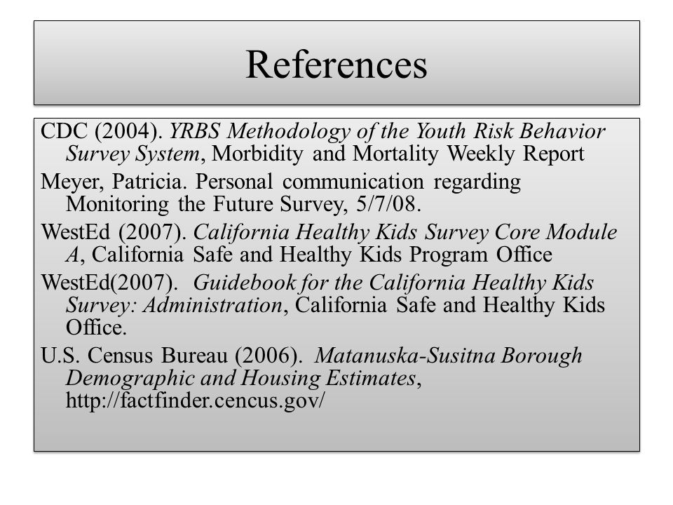 References CDC (2004). YRBS Methodology of the Youth Risk Behavior Survey System, Morbidity and Mortality Weekly Report Meyer, Patricia. Personal comm