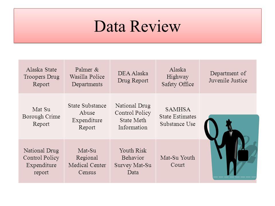 Data Review Alaska State Troopers Drug Report Palmer & Wasilla Police Departments DEA Alaska Drug Report Alaska Highway Safety Office Department of Ju