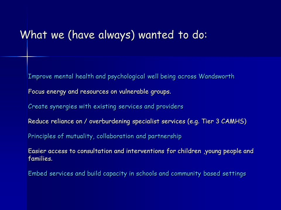 Improve mental health and psychological well being across Wandsworth Focus energy and resources on vulnerable groups. Create synergies with existing s