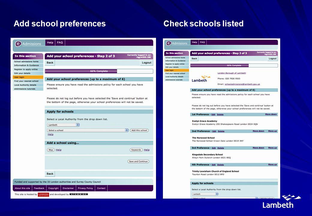 Add school preferencesCheck schools listed
