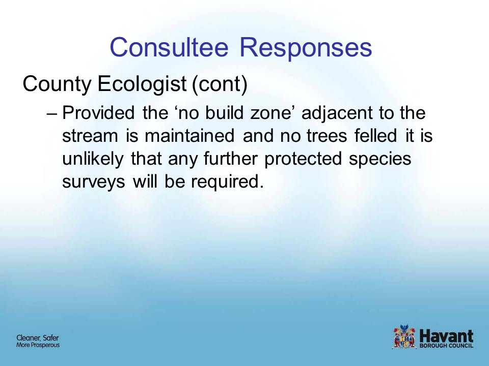 Consultee Responses County Ecologist (cont) –Provided the 'no build zone' adjacent to the stream is maintained and no trees felled it is unlikely that any further protected species surveys will be required.
