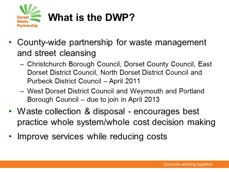 What is the DWP? County-wide partnership for waste management and street cleansing –Christchurch Borough Council, Dorset County Council, East Dorset D