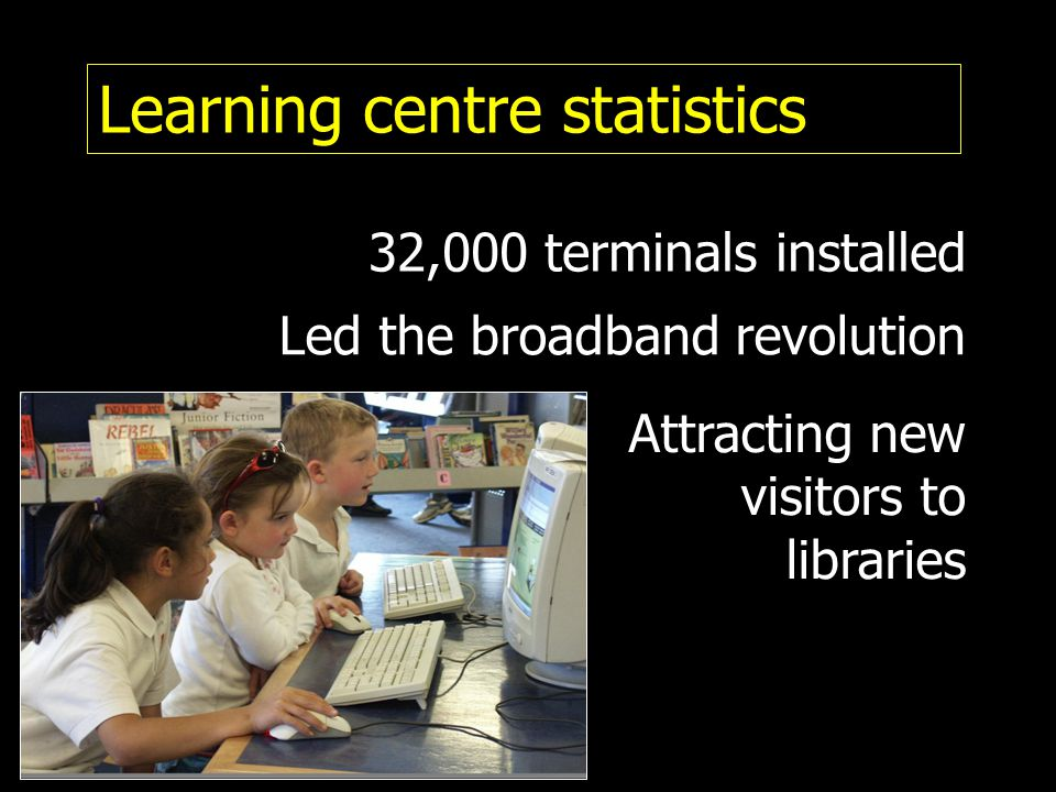 Learning centre statistics Led the broadband revolution Attracting new visitors to libraries 32,000 terminals installed