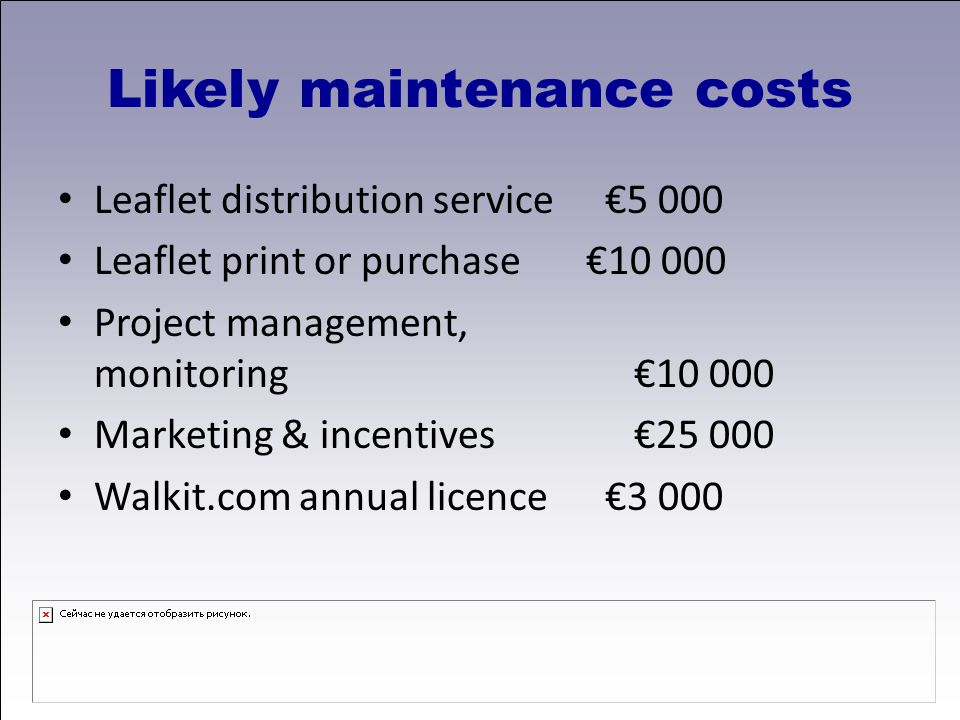 Likely maintenance costs Leaflet distribution service €5 000 Leaflet print or purchase€10 000 Project management, monitoring€10 000 Marketing & incentives€25 000 Walkit.com annual licence €3 000
