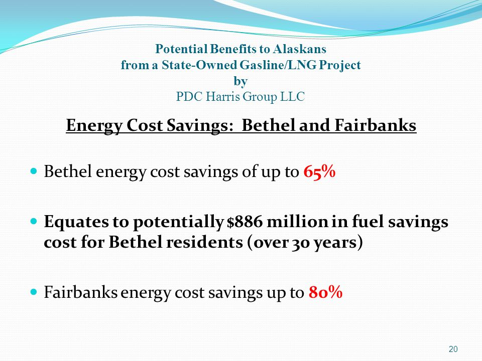 20 Potential Benefits to Alaskans from a State-Owned Gasline/LNG Project by PDC Harris Group LLC Energy Cost Savings: Bethel and Fairbanks Bethel energy cost savings of up to 65% Equates to potentially $886 million in fuel savings cost for Bethel residents (over 30 years) Fairbanks energy cost savings up to 80%