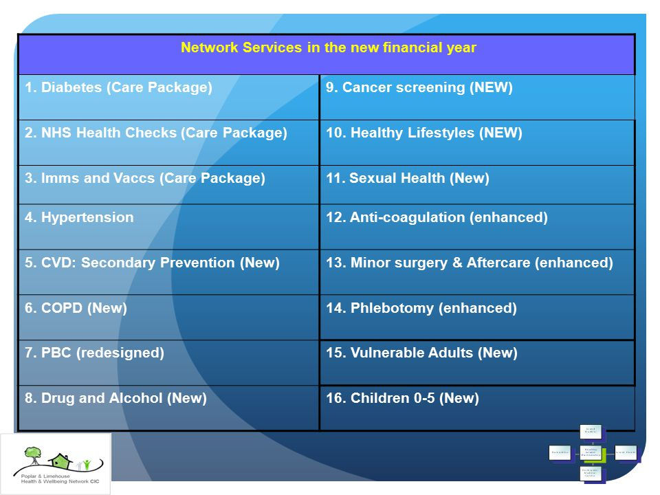 Network Services in the new financial year 1. Diabetes (Care Package)9.