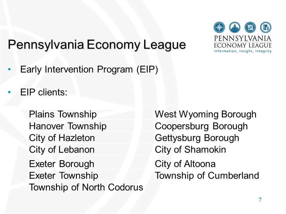 7 Pennsylvania Economy League Early Intervention Program (EIP) EIP clients: Plains TownshipWest Wyoming Borough Hanover TownshipCoopersburg Borough City of HazletonGettysburg Borough City of LebanonCity of Shamokin Exeter BoroughCity of Altoona Exeter TownshipTownship of Cumberland Township of North Codorus
