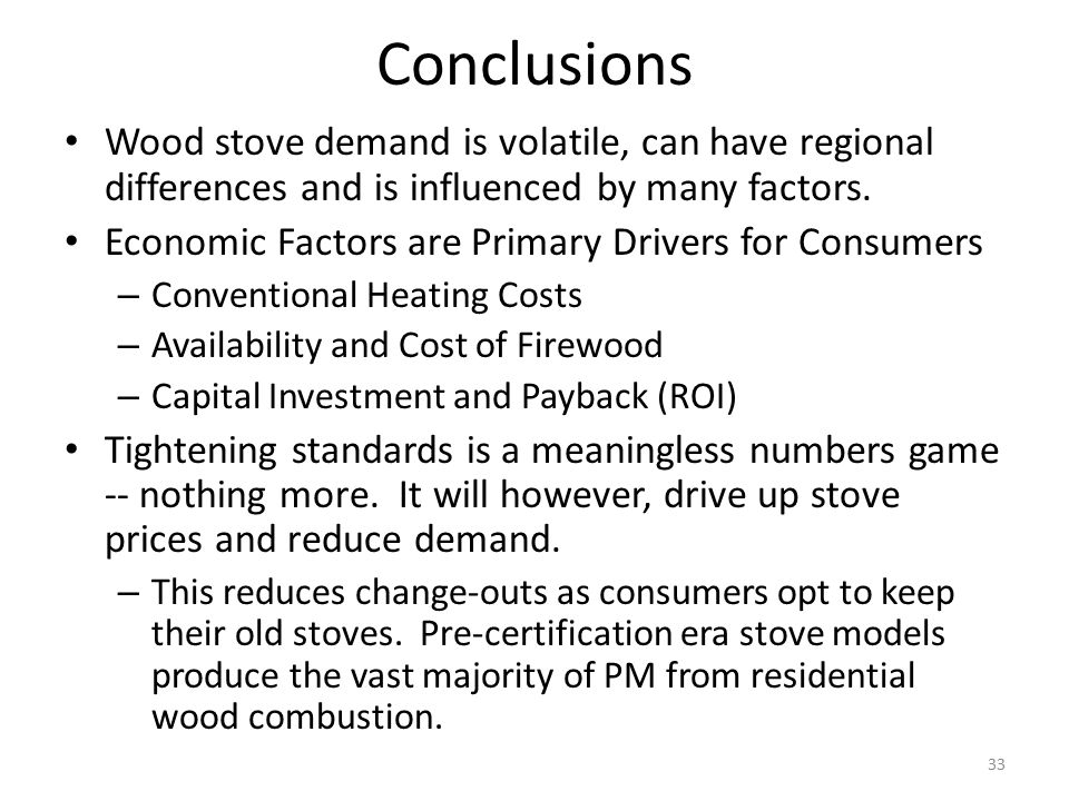 Conclusions Wood stove demand is volatile, can have regional differences and is influenced by many factors. Economic Factors are Primary Drivers for C