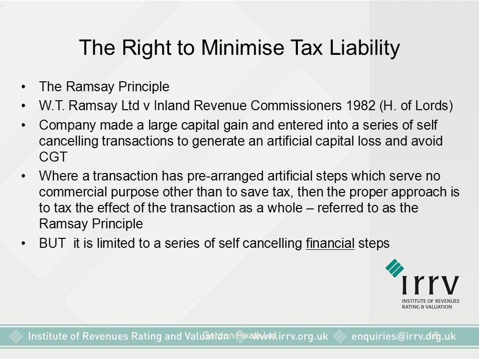 Gordon Heath Ltd18 The Right to Minimise Tax Liability The Ramsay Principle W.T.