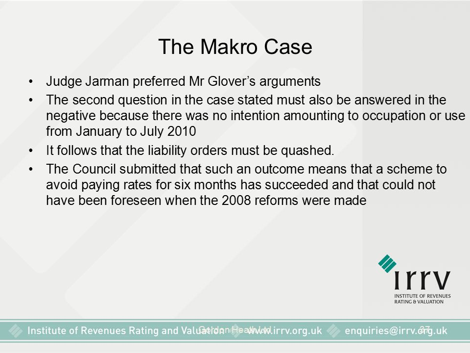 Gordon Heath Ltd37 The Makro Case Judge Jarman preferred Mr Glover's arguments The second question in the case stated must also be answered in the neg