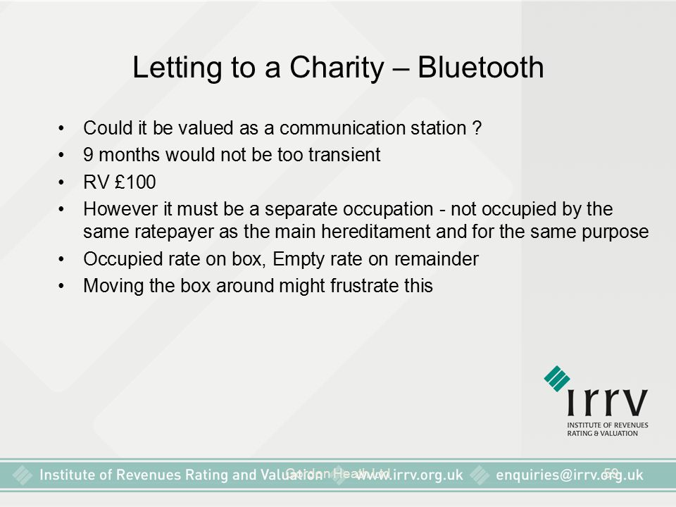 Gordon Heath Ltd59 Letting to a Charity – Bluetooth Could it be valued as a communication station .