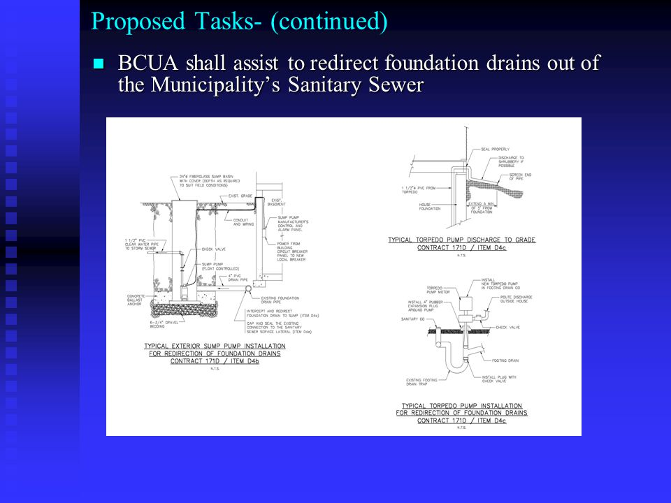 Proposed Tasks- (continued) BCUA shall assist to redirect foundation drains out of the Municipality's Sanitary Sewer BCUA shall assist to redirect fou