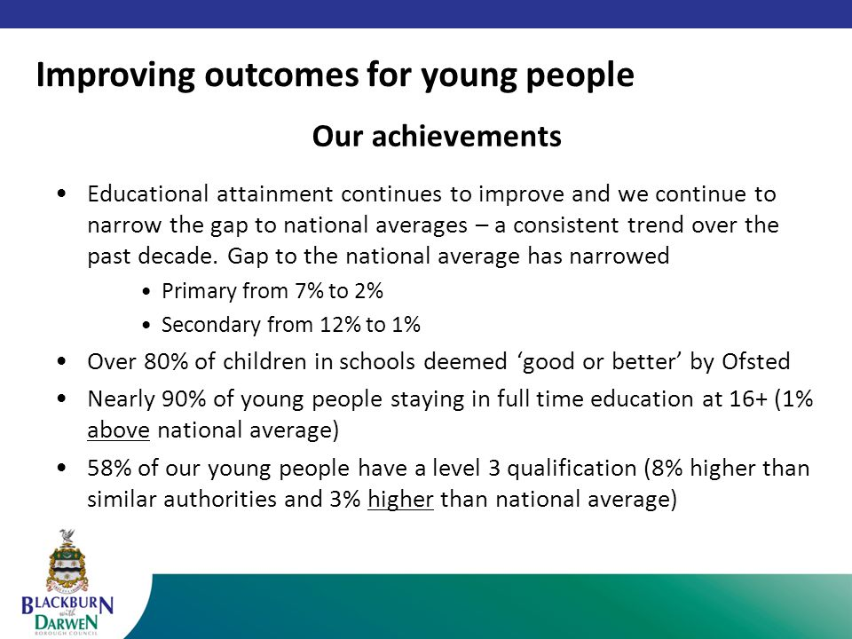 Our achievements Educational attainment continues to improve and we continue to narrow the gap to national averages – a consistent trend over the past decade.