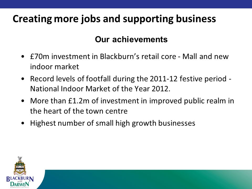 Our achievements £70m investment in Blackburn's retail core - Mall and new indoor market Record levels of footfall during the 2011-12 festive period - National Indoor Market of the Year 2012.
