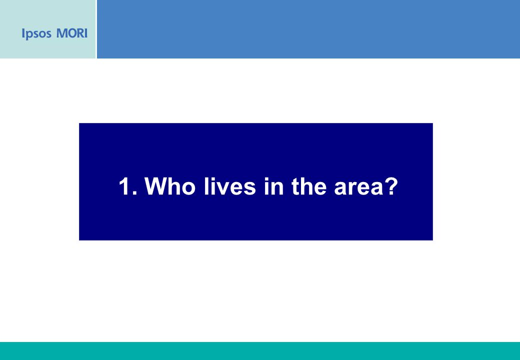 15 1. Who lives in the area?