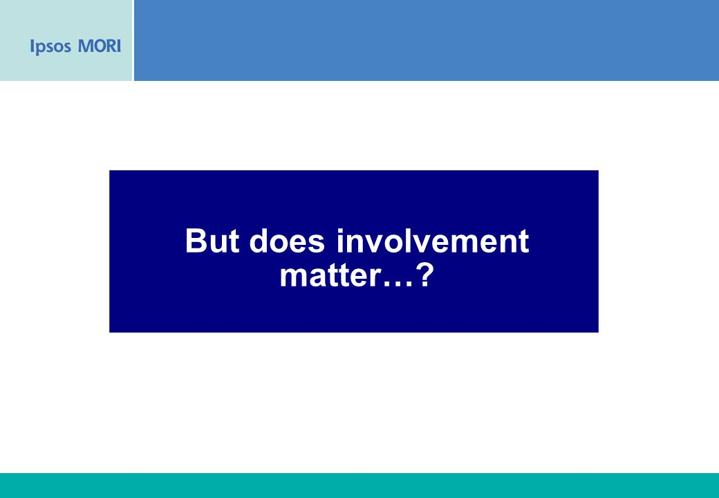39 But does involvement matter…?
