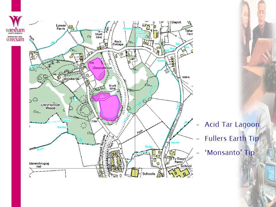 –Acid Tar Lagoon –Fullers Earth Tip –'Monsanto' Tip