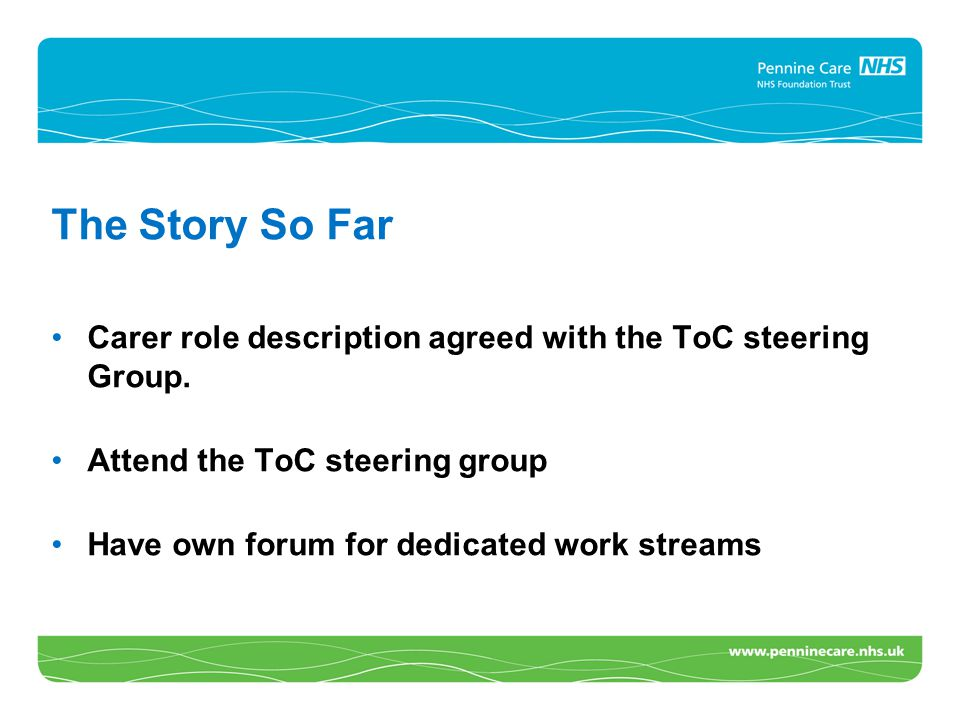 The Story So Far Carer role description agreed with the ToC steering Group. Attend the ToC steering group Have own forum for dedicated work streams