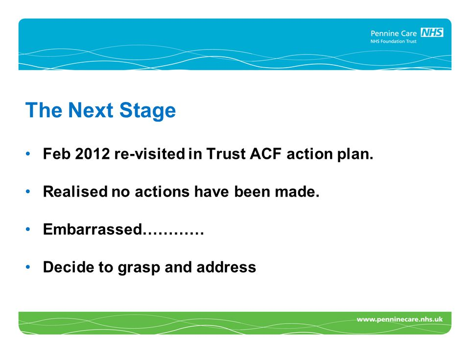 The Next Stage Feb 2012 re-visited in Trust ACF action plan. Realised no actions have been made. Embarrassed………… Decide to grasp and address