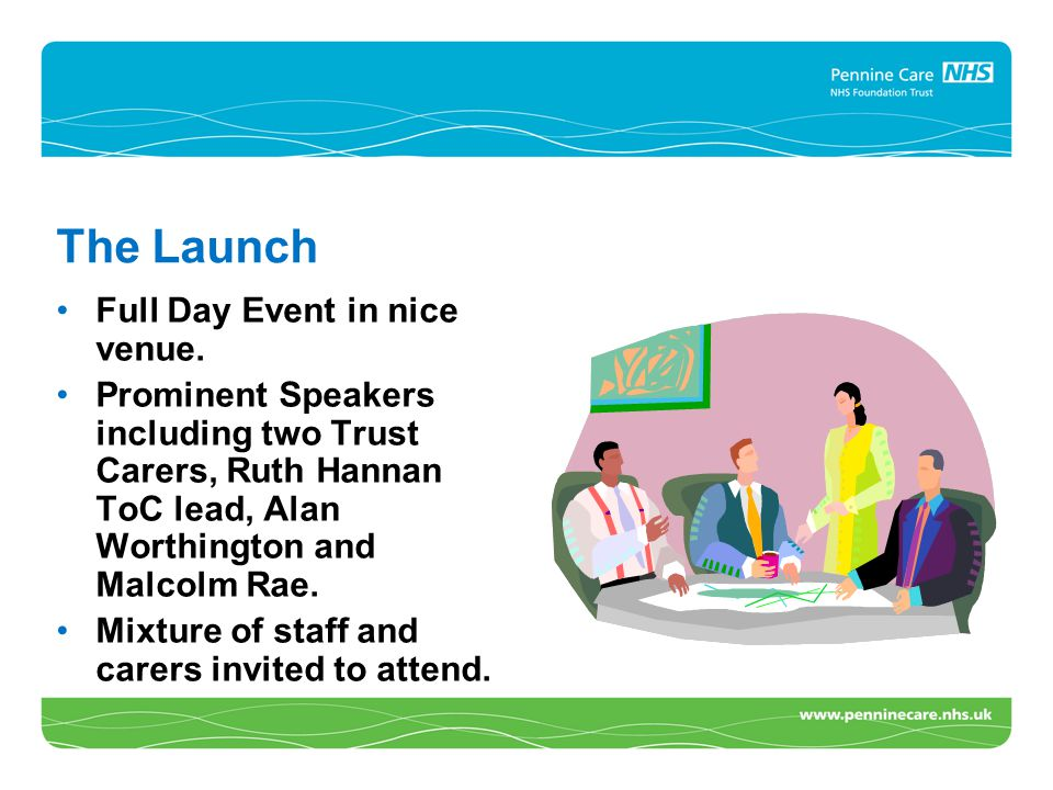 The Launch Full Day Event in nice venue. Prominent Speakers including two Trust Carers, Ruth Hannan ToC lead, Alan Worthington and Malcolm Rae. Mixtur