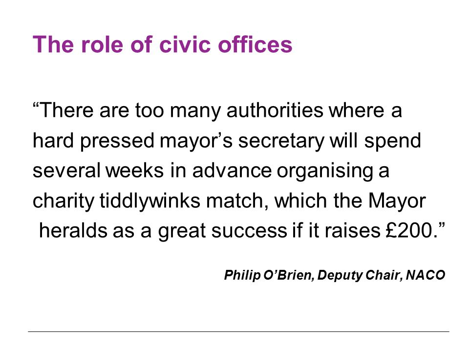 "The role of civic offices ""There are too many authorities where a hard pressed mayor's secretary will spend several weeks in advance organising a char"