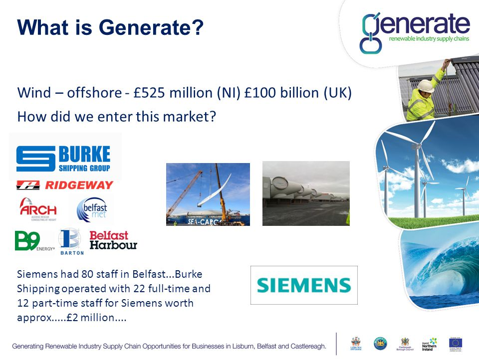 What is Generate? Wind – offshore - £525 million (NI) £100 billion (UK) How did we enter this market? Siemens had 80 staff in Belfast...Burke Shipping