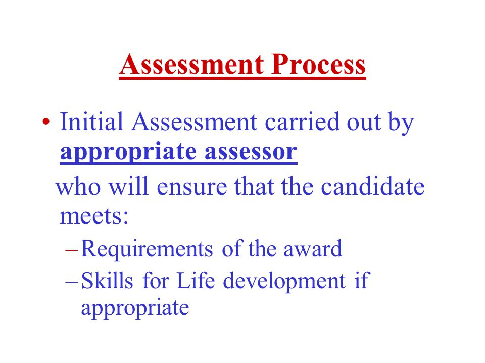 Assessment Process Initial Assessment carried out by appropriate assessor who will ensure that the candidate meets: –Requirements of the award –Skills for Life development if appropriate