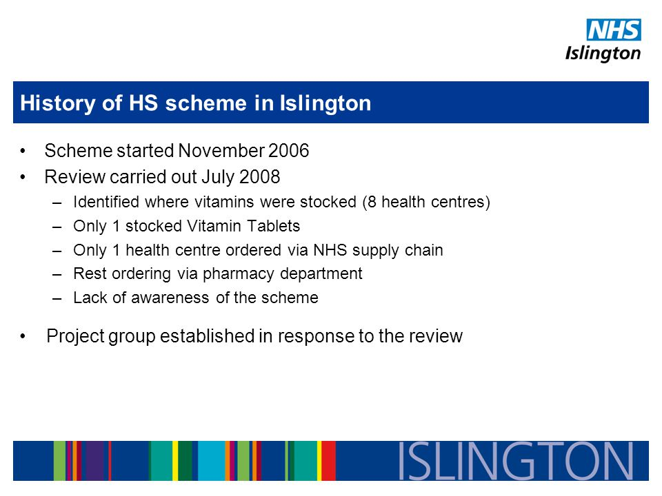 History of HS scheme in Islington Scheme started November 2006 Review carried out July 2008 –Identified where vitamins were stocked (8 health centres) –Only 1 stocked Vitamin Tablets –Only 1 health centre ordered via NHS supply chain –Rest ordering via pharmacy department –Lack of awareness of the scheme Project group established in response to the review
