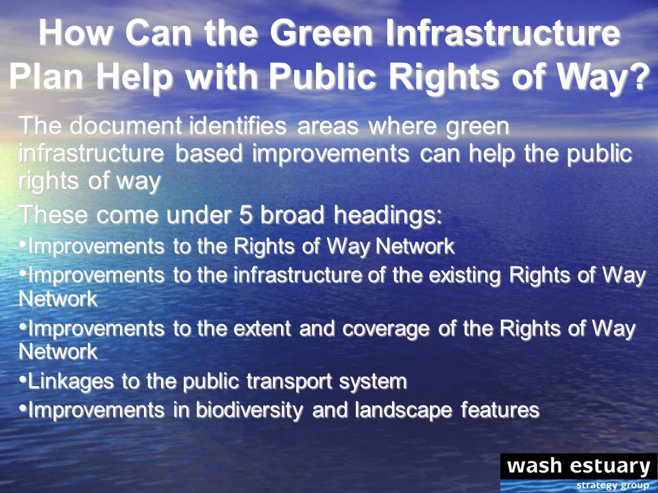 How Can the Green Infrastructure Plan Help with Public Rights of Way.