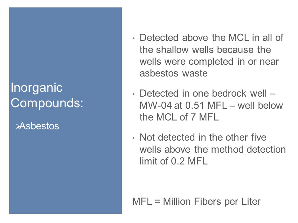 Inorganic Compounds:  Asbestos Detected above the MCL in all of the shallow wells because the wells were completed in or near asbestos waste Detected in one bedrock well – MW-04 at 0.51 MFL – well below the MCL of 7 MFL Not detected in the other five wells above the method detection limit of 0.2 MFL MFL = Million Fibers per Liter