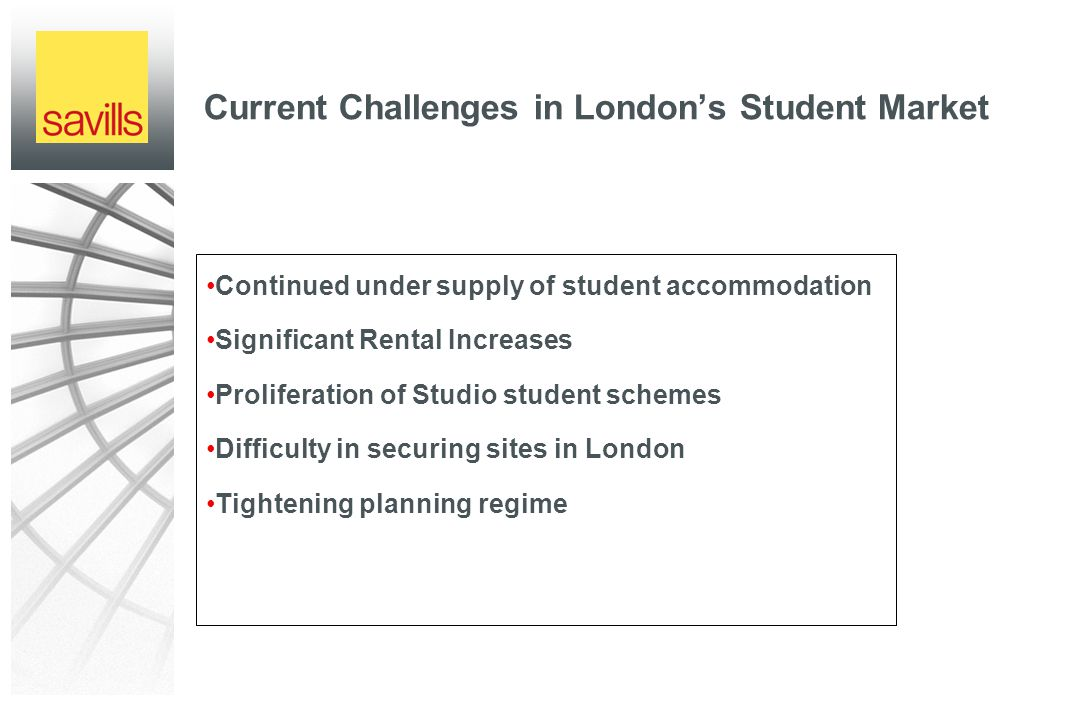 Current Challenges in London's Student Market Continued under supply of student accommodation Significant Rental Increases Proliferation of Studio student schemes Difficulty in securing sites in London Tightening planning regime