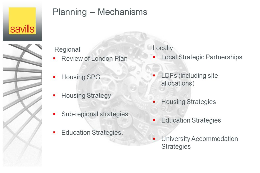Planning – Mechanisms Regional  Review of London Plan  Housing SPG  Housing Strategy  Sub-regional strategies  Education Strategies.