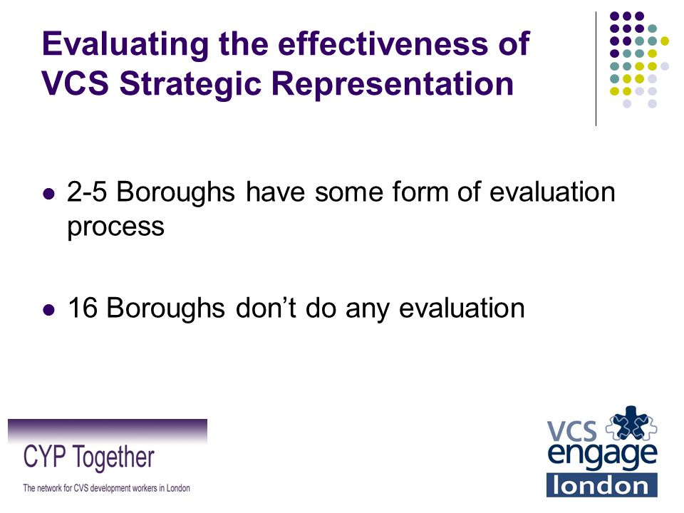Evaluating the effectiveness of VCS Strategic Representation 2-5 Boroughs have some form of evaluation process 16 Boroughs don't do any evaluation