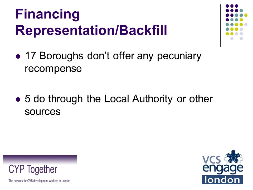 Financing Representation/Backfill 17 Boroughs don't offer any pecuniary recompense 5 do through the Local Authority or other sources
