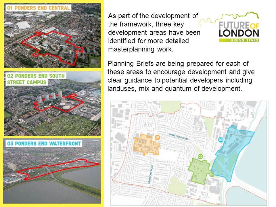 As part of the development of the framework, three key development areas have been identified for more detailed masterplanning work.
