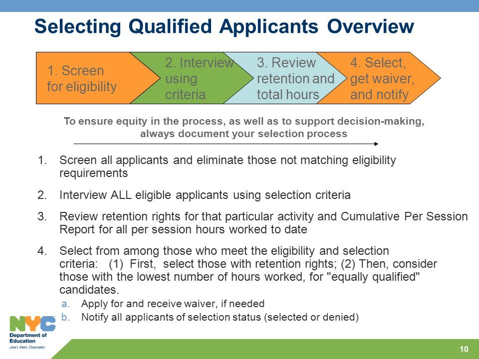 10 Selecting Qualified Applicants Overview 1.Screen all applicants and eliminate those not matching eligibility requirements 2.Interview ALL eligible applicants using selection criteria 3.Review retention rights for that particular activity and Cumulative Per Session Report for all per session hours worked to date 4.Select from among those who meet the eligibility and selection criteria: (1) First, select those with retention rights; (2) Then, consider those with the lowest number of hours worked, for equally qualified candidates.