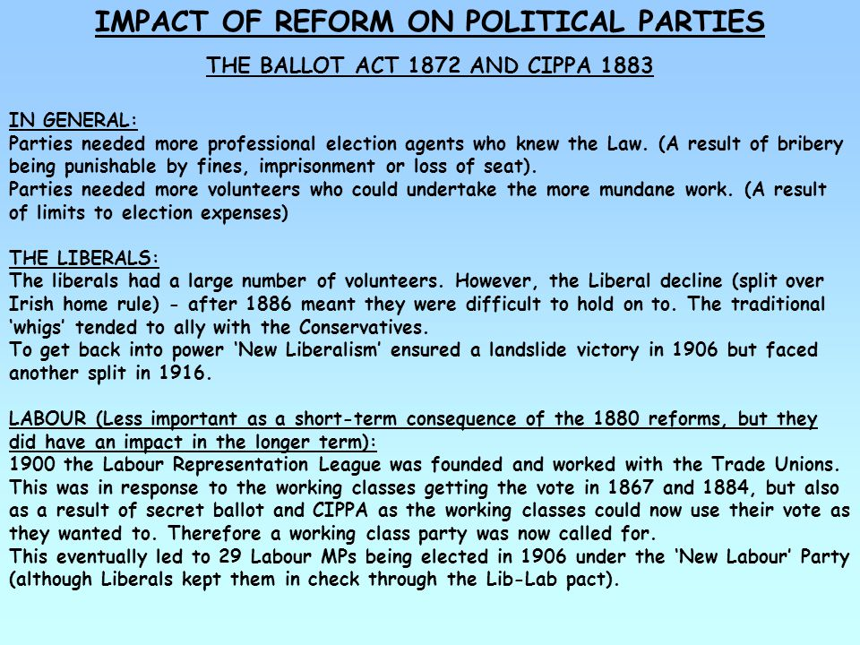 IMPACT OF REFORM ON POLITICAL PARTIES THE BALLOT ACT 1872 AND CIPPA 1883 THE CONSERVATIVES: Reacted more to the reforms of 1880s than any other party.
