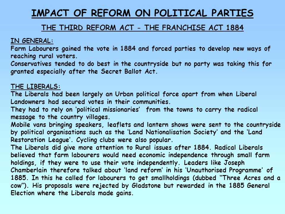 THE IMPACT OF REFORM ON POLITICAL PARTIES THE THIRD REFORM ACT – THE FRANCHISE ACT 1884 THE CONSERVATIVES: Conservatives did traditionally have a stronger hold in the countryside – but even they were not complacent.
